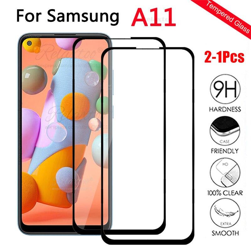2-1 шт. полное покрытие закаленное стекло для Samsung A11 2020 защитные плёнки для Galaxy Note протектор A11 11 A115F экран протектор чехол-броня