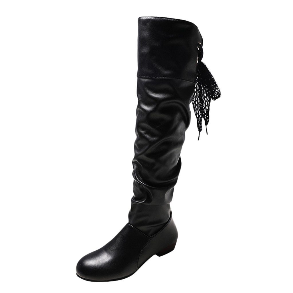 SAGACE Women Warm Knee Boot Lace Strappy Flat Boot Large Size Student Shoe Boot Sexy Female Autumn Winter Thigh High Boot Sep 17
