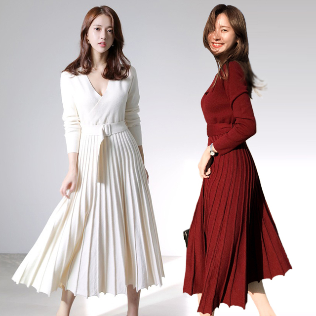 New Fashion Women Knitted Pleated Dress Fall Winter Long Sleeve Thick Sweater Dress Casual Sexy V Neck Sashes Dress