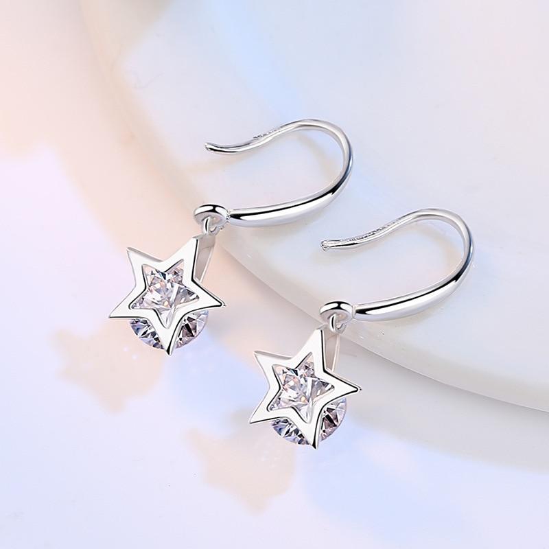 925 Sterling Silver Piercing Zircon Star Stud Earrings for Women Girls Wedding Party Gift pendientes eh277