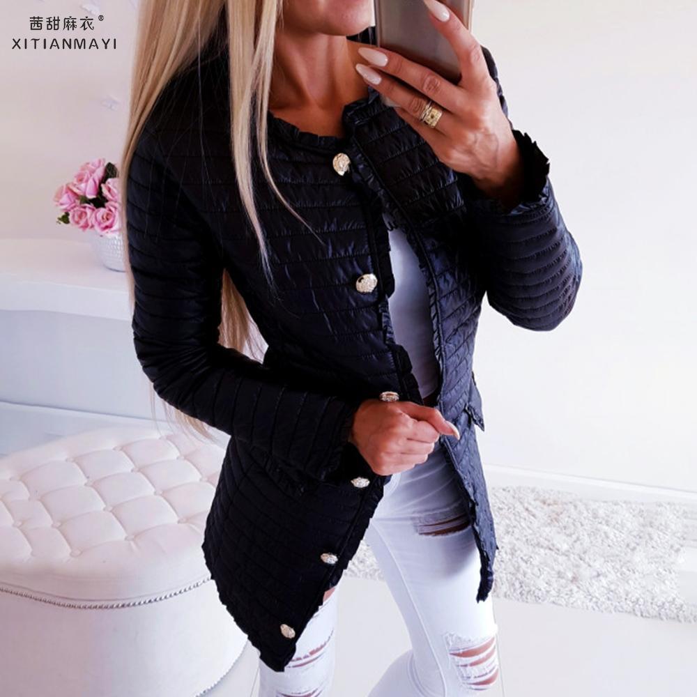 Autumn Winter 2019 New Women Outwear Basic Jackets Female  Winter Cotton Coats Pockets Slim Fit Black Mid-length Jackets D25