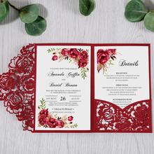 100 pièces cartes dinvitation florales découpées au Laser rouge pour mariage/fête/Quinceanera/anniversaire/anniversaire, CW0008