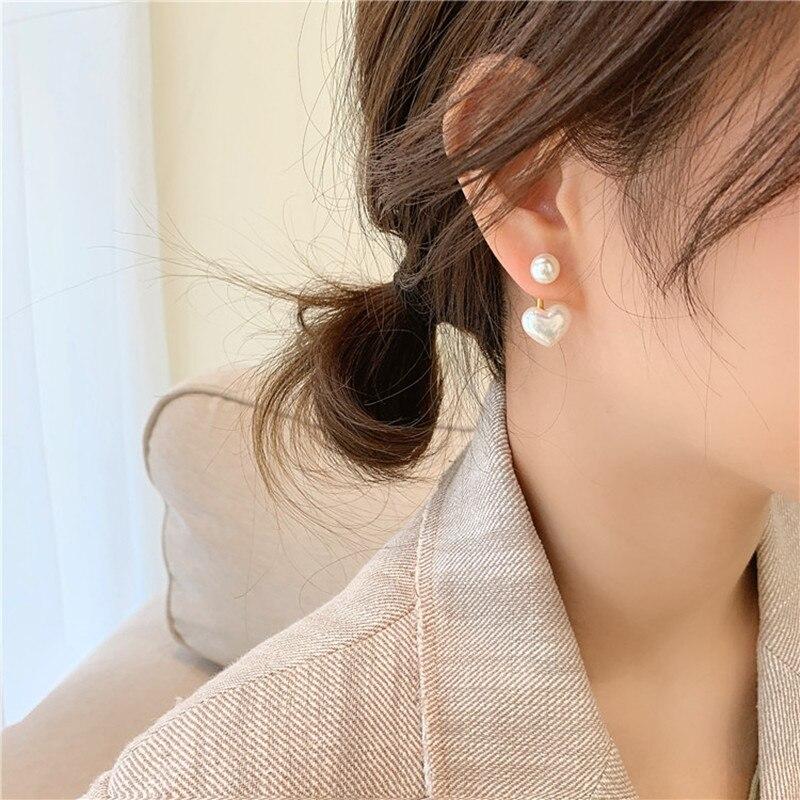 2020 New fashion contracted Heart Pearl fine earrings joker sweet elegant temperament Women Drop earrings