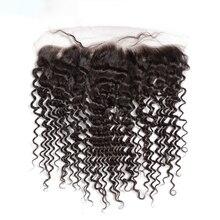 13x4 głęboka koronkowa fala Frontal brazylijski ludzki włos 18 20 Cal dziewiczy włosy kręcone zamknięcie z dzieckiem włosy wstępnie oskubane włoskowate