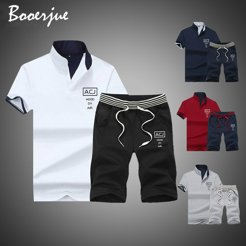 2020 Brand Fitness Suits Summer 2PC Top Short Set Mens Stand Collar Fashion 2 Pieces T-shirt Shorts Tracksuit Sportsuits Set Men