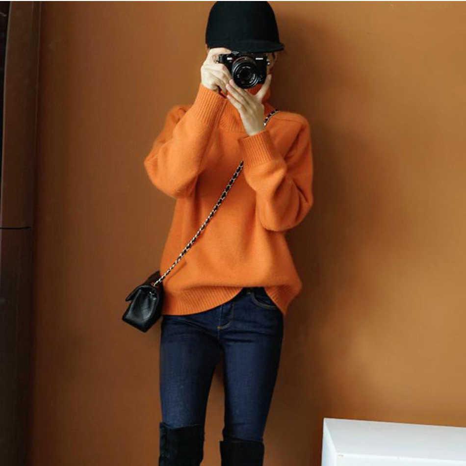 2019 nova laranja camisola feminina gola alta solta cashmere wear outono e inverno conjuntos grossos de laranja malha camisa de fundo