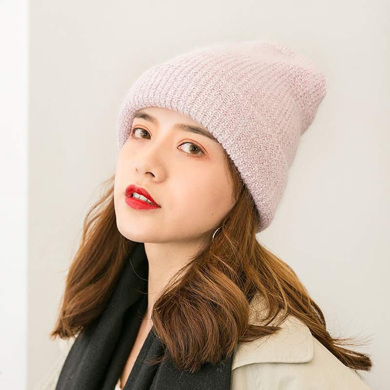 2019 New Simple line Cap Beanie Hat Female Winter Cold Warm Hat Cap Ski Hat Double knit Hat Thicken Skiing