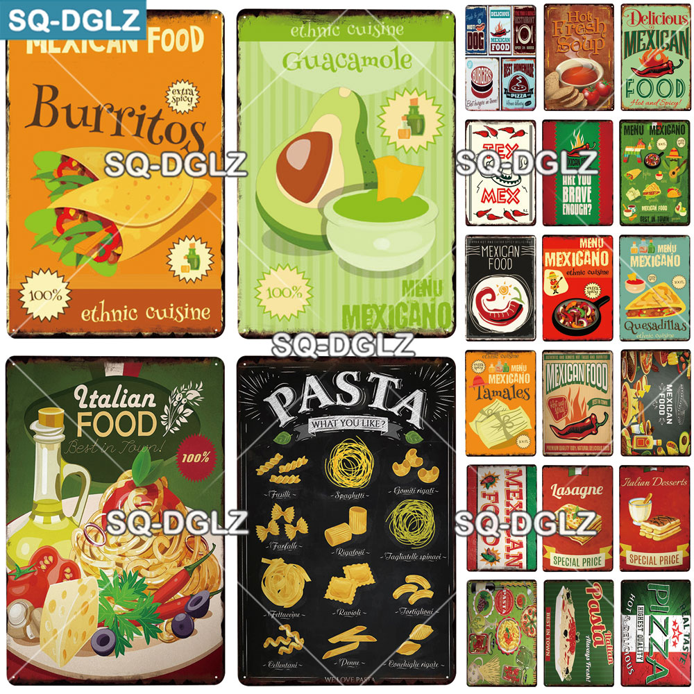 [SQ-DGLZ] итальянская еда, металлический знак, Настенный декор, жестяной знак, винтажный Декор для дома, картина, таблички, художественная доска,...