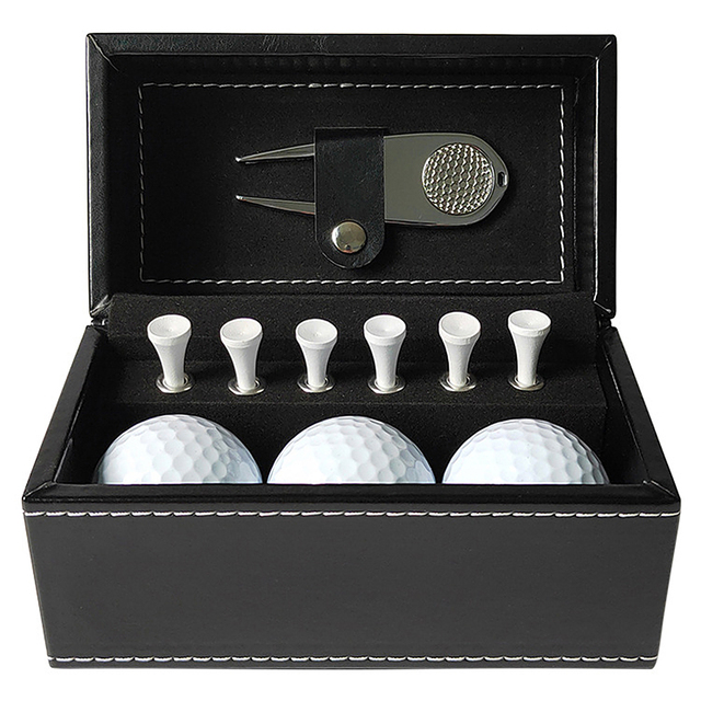 11 PCS Golf Accessories Kit with 6 Golf Tees 3 Golf Balls Divot Repair Tool Leather Box Set Golf Trainning Gift 1