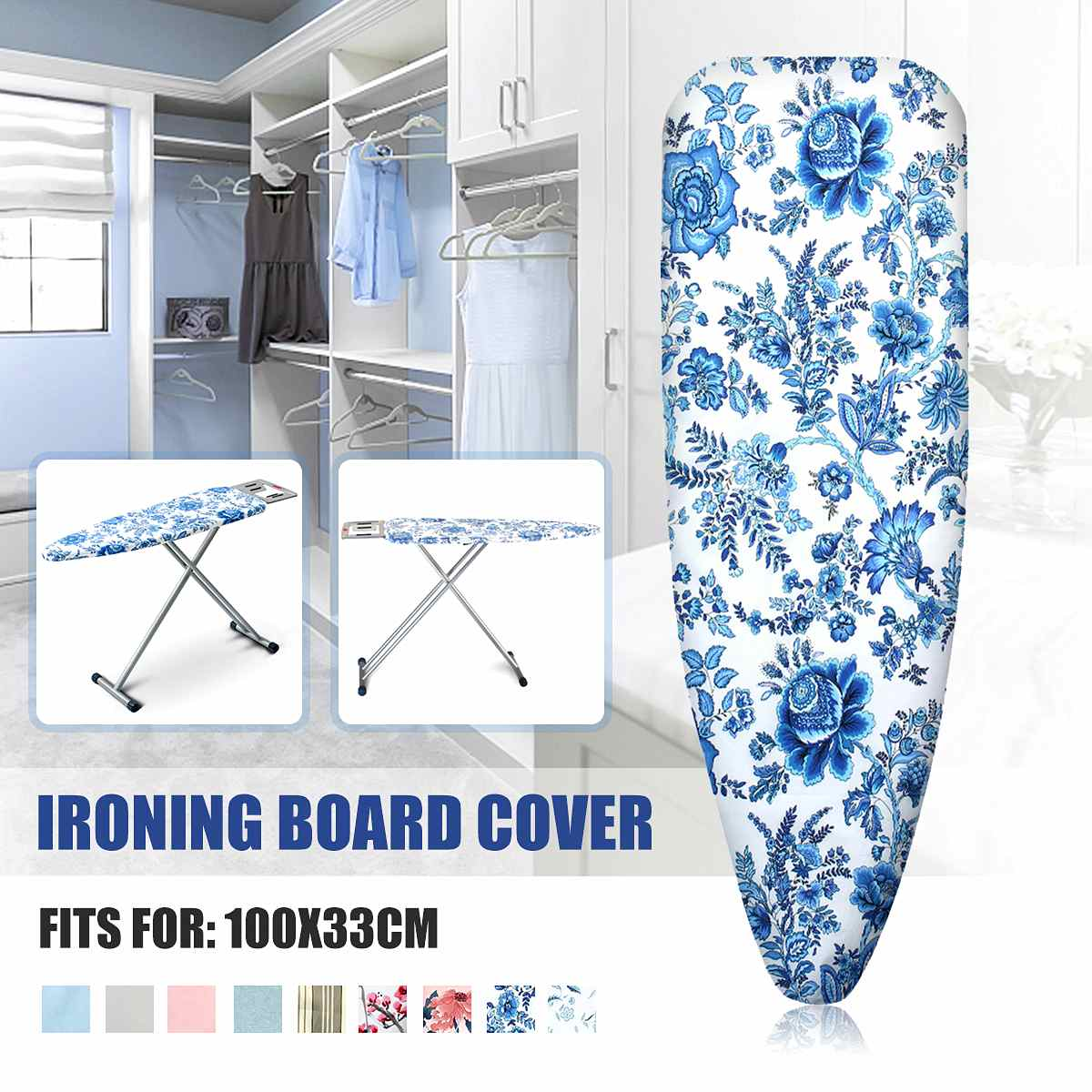 1pcs Portable Cotton Printed Ironing Board Cover Folding Elasticated Household Ironing Board Cover Mat Heat Non-Slip Ironing Pad