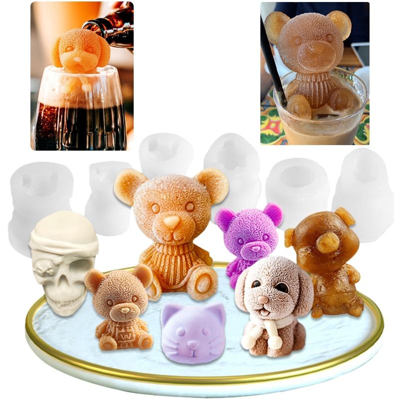 Ice Cube Maker Little bear dog Skull Tray Ice Cream Silicone Mould Cool Mold Whiskey Wine форма для льда силиконовые формы формы