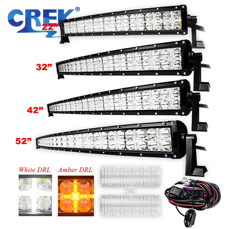 """CREK 7D 22 32 42 52"""" Curved Offroad LED Work Light Bar 2 Modes ATV 4x4 4WD LED Bar For Jeep 4WD 4x4 Offroad SUV ATV Truck"""