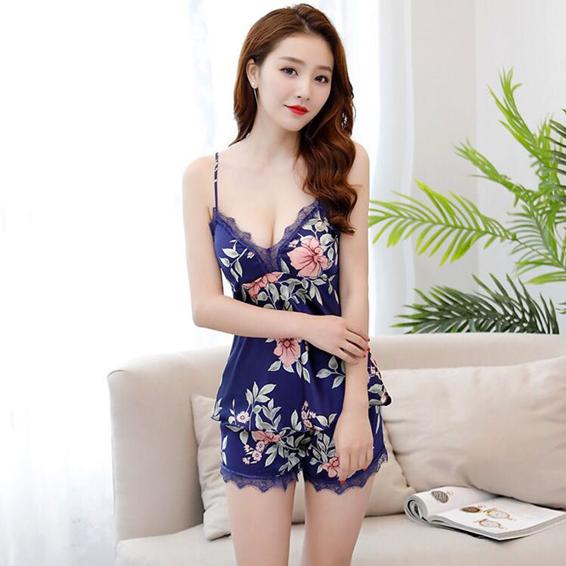 Sleep Lounge Pajama Set Sexy Satin Sleepwear Women Summer Pyjama Femme Fashion Flower Pajamas For Women With Chest Pad 2019