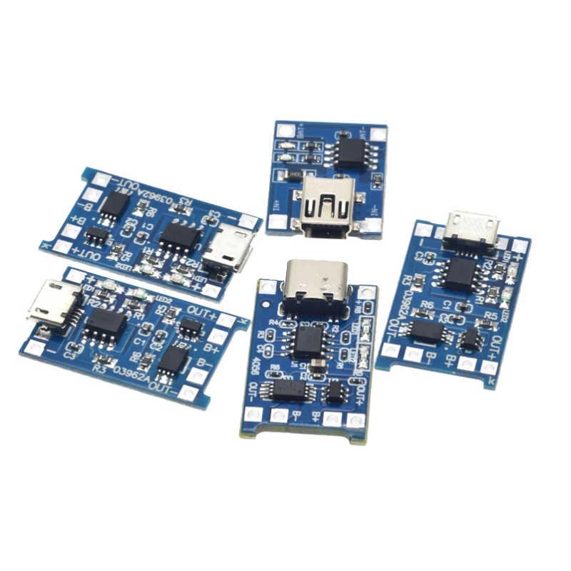 Loại C/Micro USB 5V 1A 18650 TP4056 Sạc Pin Lithium Mô Đun Bo Mạch Sạc Với Bảo Vệ Kép chức Năng 1A Li-ion