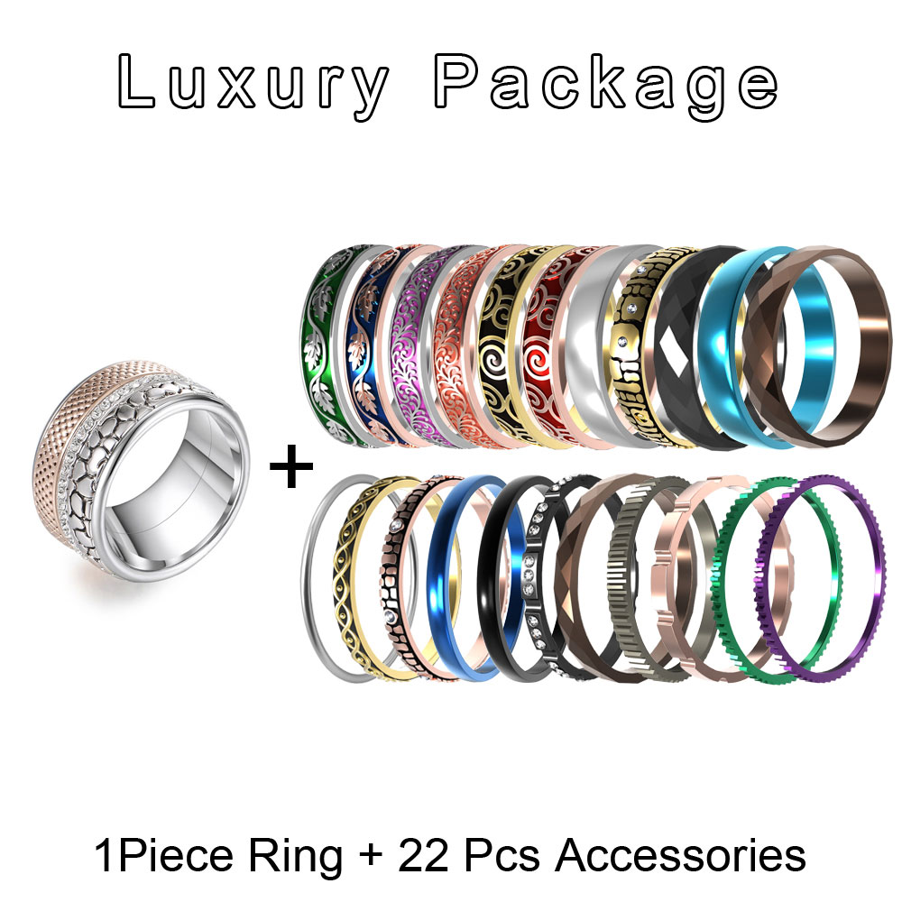 Cremo Christmas Gift Stainless Steel Rings Femme Bague Interchangeable Accessories Jewelry Stackable Band Ring Set Acier Inoxy