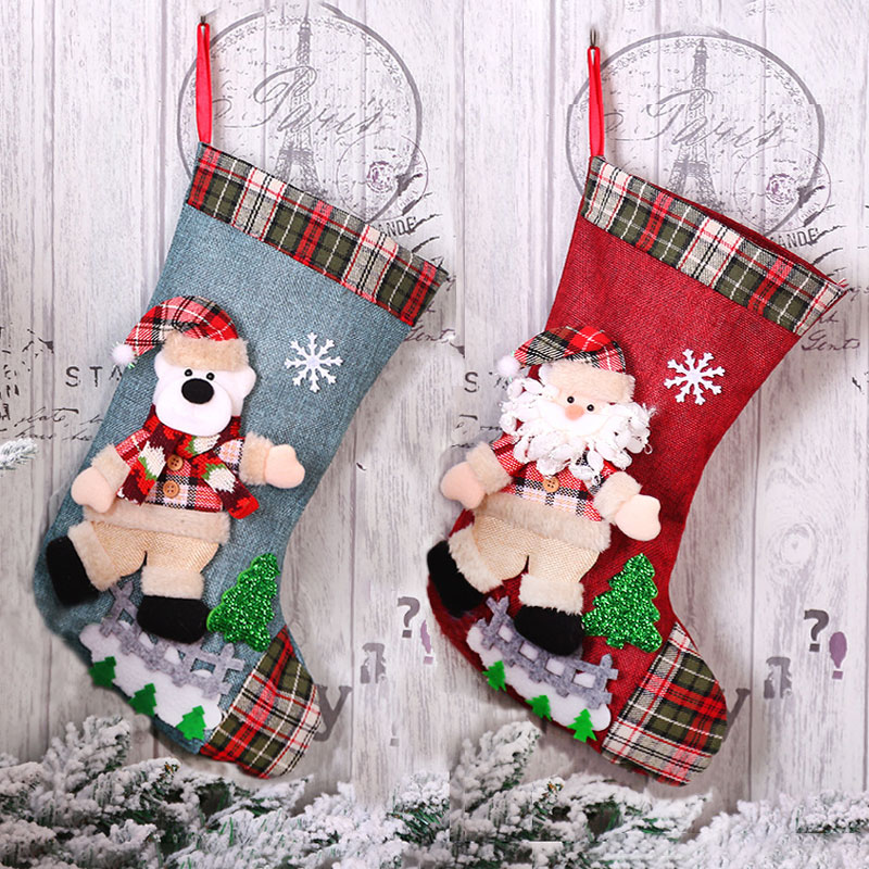 New Year Christmas Stocking Sack Xmas Gift Candy Bag Noel Christmas Decorations For Home Natal Navidad Sock Christmas Tree Decor