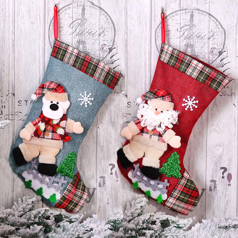 New Year Christmas Stocking Sack Xmas Gift Candy Bag Noel Christmas Decorations For Home Natal Navidad Sock Christmas Tree Decor