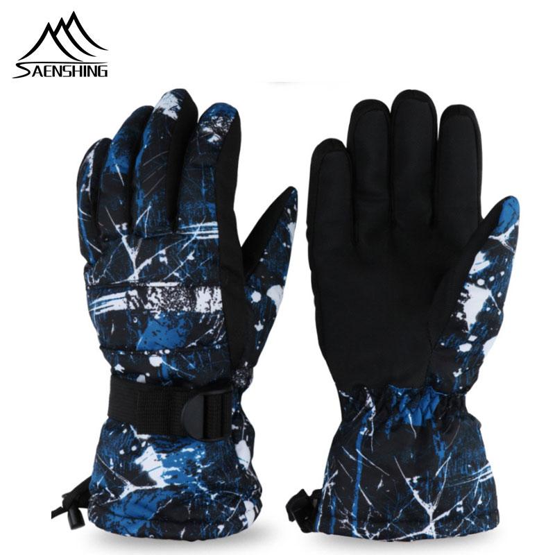 SAENSHING Winter Warm Snowboard Ski Gloves Men Women Waterproof Snow Mittens Skiing Snowmobile Glove Windstopper Handschoemen