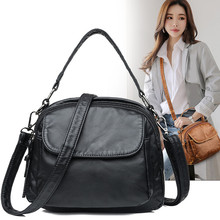 купить Simple Black Soft Women Shoulder Bags PU Leather Ladies Casual Small Messenger Bag Crossbody Luxury Female Handbags Sac A Main дешево