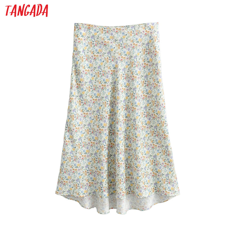 Tangada Women Floral Print A-line Midi Skirt Faldas Mujer Vintage Side Zipper Office Ladies Elegant Chic Skirts FN120