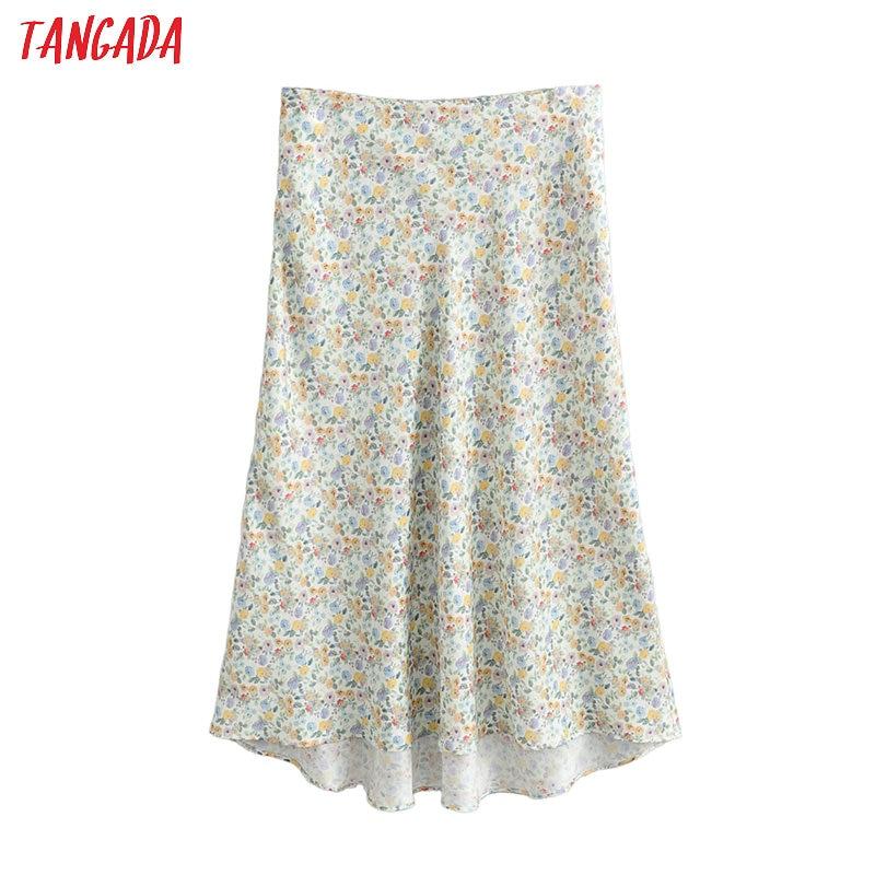 Tangada Women Floral Print A-line Midi Skirt Faldas Mujer Vintage Side Zipper Office Ladies Elegant Chic Skirts FN120