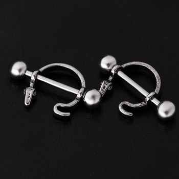 1 Pair Nipple Ring Bars Shield Entwined Snake Stainless Steel Body Jewelry image