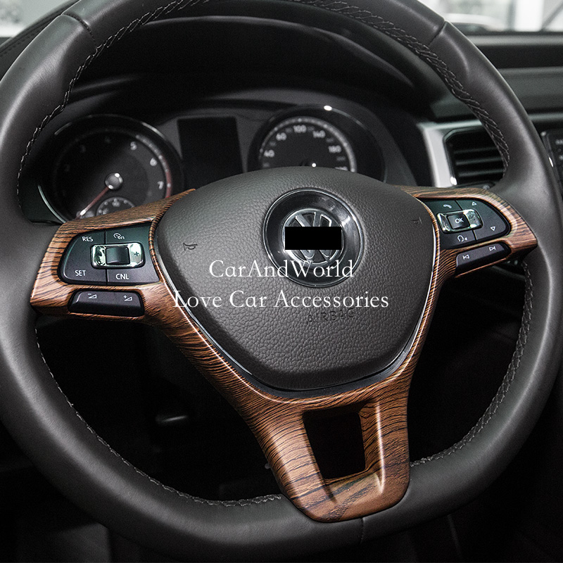 Accessories For Volkswagon VW <font><b>Tiguan</b></font> 2017 2018 <font><b>2019</b></font> Steering Wheel Switch Button Sequins Cover Trims High Model Car Decoration image