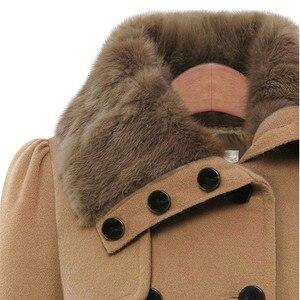 Image 5 - Manteau long mélangé de laine pour femme, manches longues, col rabattu, pardessus chaud et élégant en cachemire, hiver, veste de survêtement, décontracté