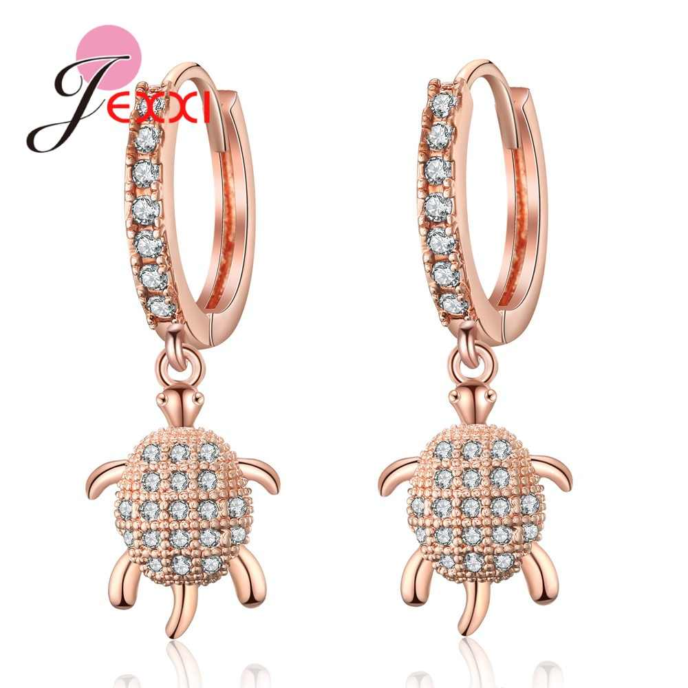 New Fashion 925 Sterling Silver Vintage Animals Turtle Punk Drop Earrings For Women Clear Crystal Party Jewelry Gift