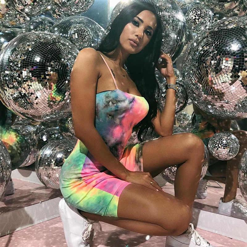 2020 Merk Nieuwe Vrouwen Vrouwelijke Sling Mouwloze Slash Hals Tie Verven Print Bodycon Korte Mini Potlood Jurk Voor Party Cocktail club