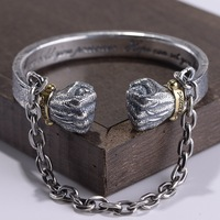 100% 925 sterling silver Creative Fist Bracelet for Men Bangle Thai silver Double boxing Men Bangle fine jewelry Christmas Gift