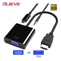 Cable adaptador VGA macho a hembra Convertidor para PS4 1080P compatible con HDMI VGA con adaptador de vídeo toma de Cable Audio para PC caja de TV