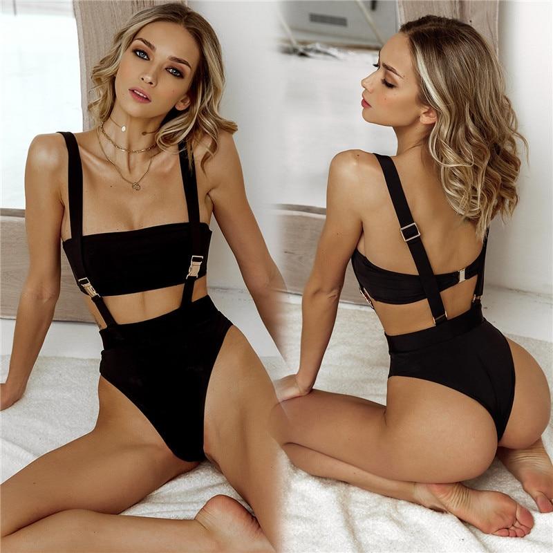 2020 Hot New Solid Color Pit Strap Belt Buckle In One Bikini One Piece Swimwear Sexy Swimwear