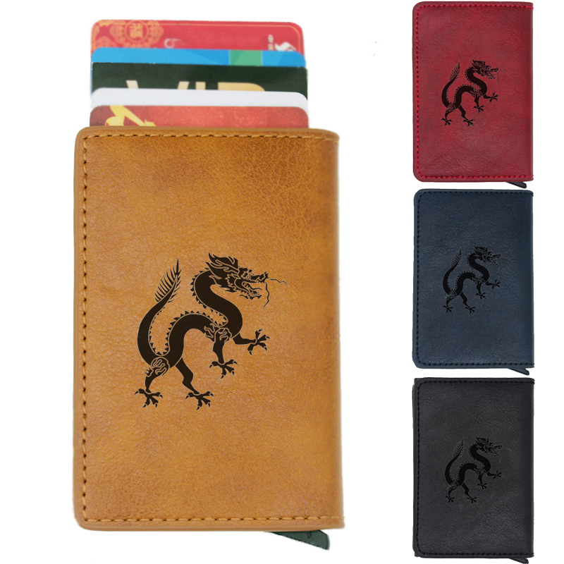 Fashion Classic Dragon Rfid Card Holder Men Wallets Brown Vintage Short Purse Leather Slim Wallets Mini Wallet