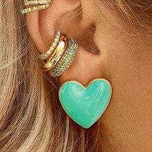 Tassel Earrings Pendientes Korean Fashion Alloy Love Heart Dangle Earrings For Women Girl 2019 New Simple Statement Lovely Gift цена