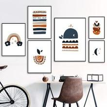 Abstracto dos desenhos animados baleia arco-íris lua hamburgo nórdico cartazes e cópias da parede arte da lona quadros de parede para crianças decoração do quarto
