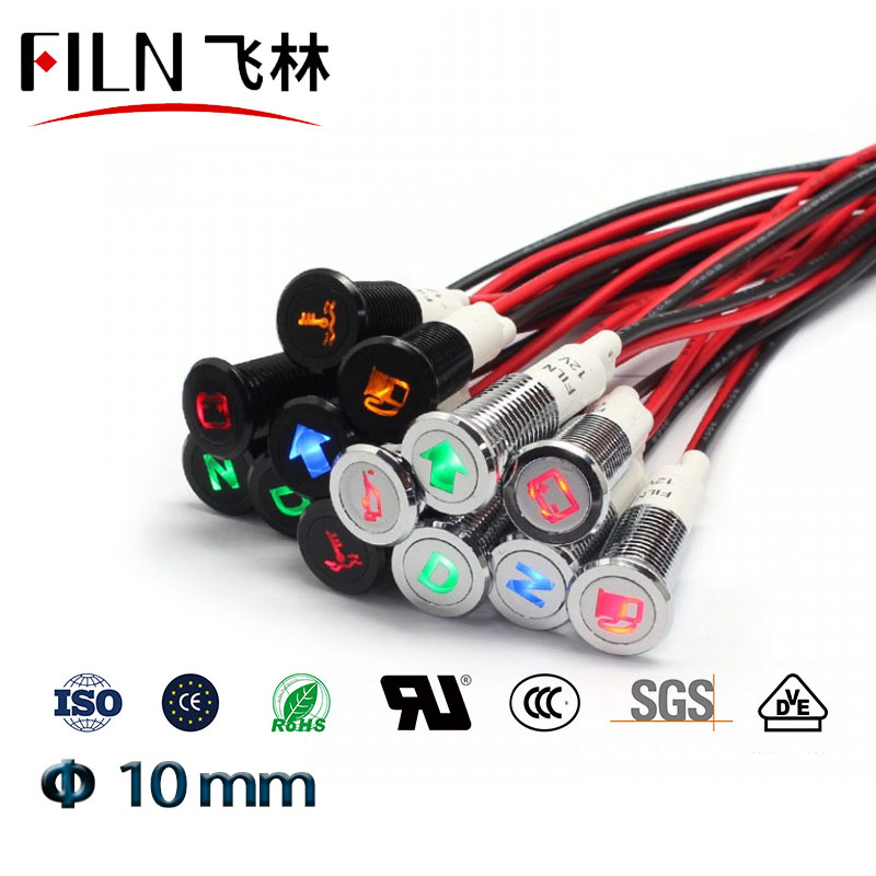 10mm Car 12v Led Indicator Light Dashboard Panel Warning Symbol Red Green Blue White Amber Pilot Lamp Waterproof Wire Leading