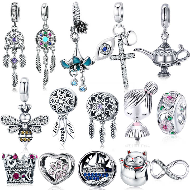 BISAER Hot Koop 925 Sterling Zilveren Hart Ster Prinses Crown Strik Dream Catcher Bedels Kralen fit Zilver 925 Sieraden Maken