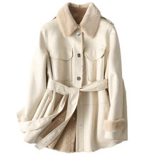 Natural Fur Sheep Shearling Jacket Winter Real Fur Coat Women Mink Fur Collar Warm Wool Fur Liner Manteau Femme FY-17 KJ3423(China)