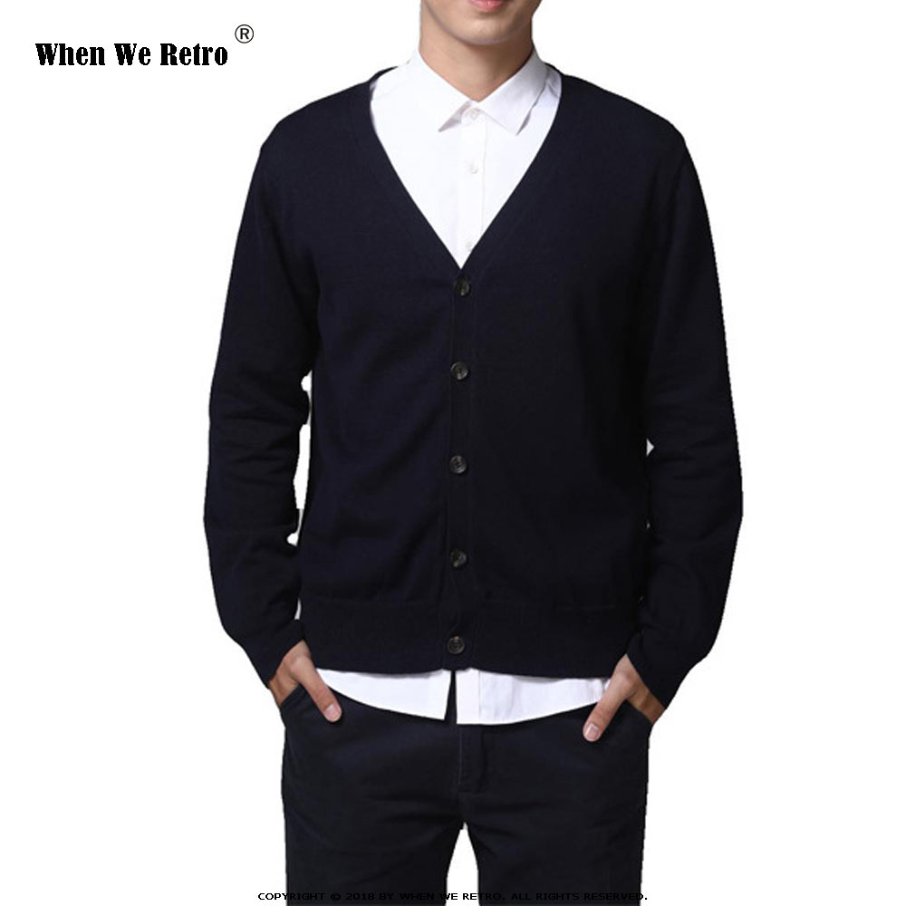 When We Retro Men Button Cardigans Sweaters 2019 New Casual Men Solid Pullover V Collar Thick Sweater Outerwear Clothing QY0622