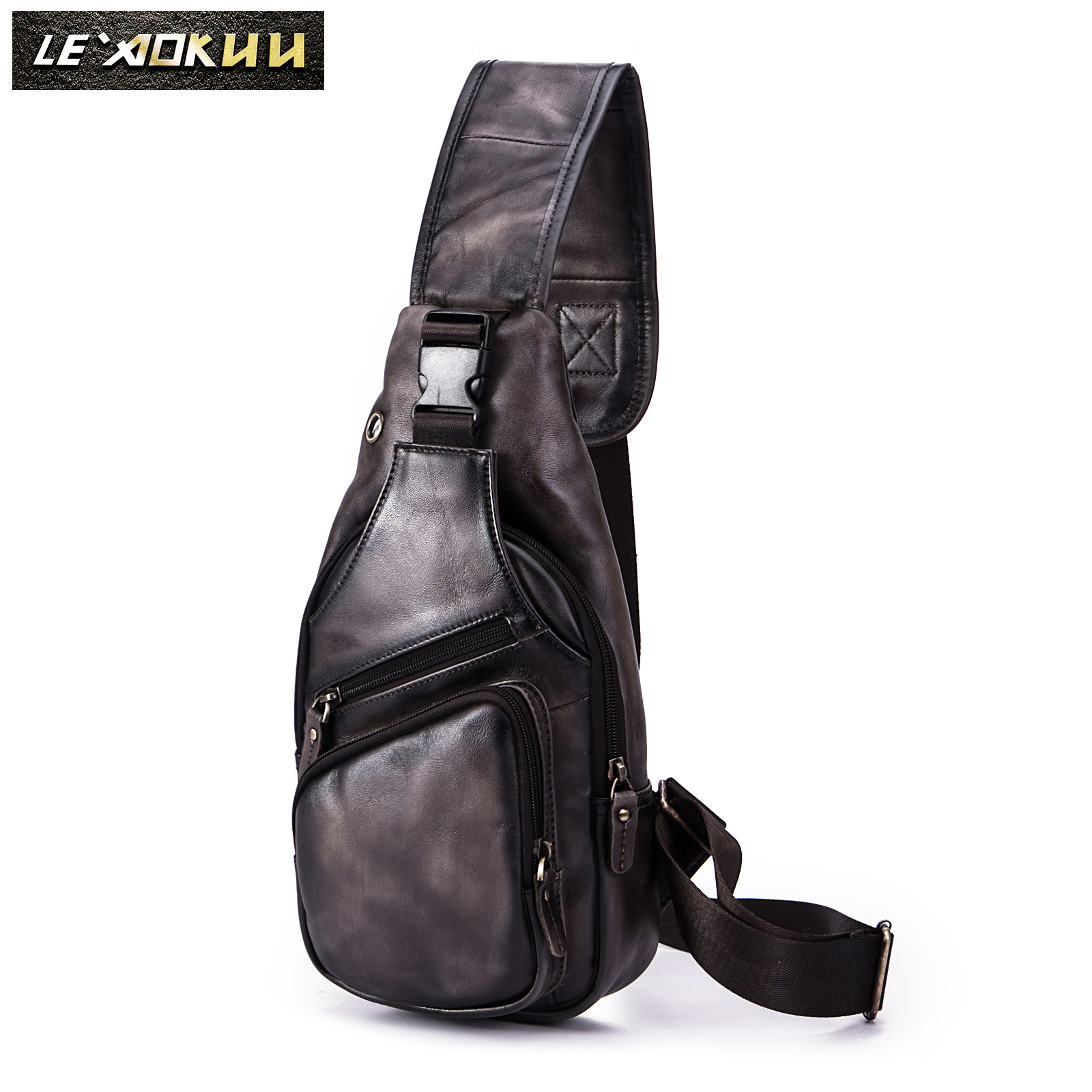 Men Original Crazy Horse Leather Casual Fashion Crossbody Chest Sling Bag Design Travel One Shoulder Bag Daypack Male 8015-dc