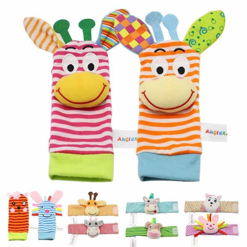 1pcs rosa coelho tocar sino chocalho do bebê brinquedos jardim bug pulso chocalho e pé meias animais bonito dos desenhos animados do bebê meias chocalho brinquedos