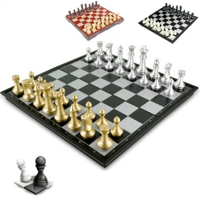 Buy Best High Quality Chess Game Medieval Chess Set With Chessboard 32 Chess Pieces With Chessboard Gold Silver Magnetic Chess Set WPC-