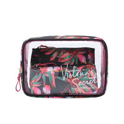 The new portable PVC cosmetic bag 3-piece set outdoor travel bag waterproof wash bag fashion transparent storage bag image