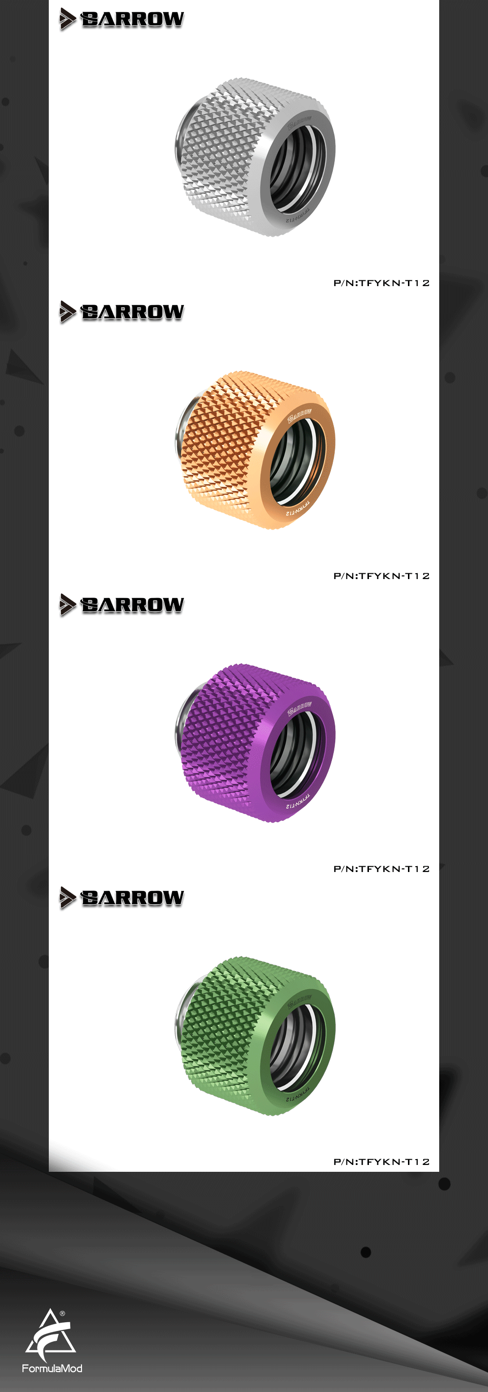 Barrow TFYKN-T12, OD12mm Choice Hard Tube Fittings, G1/4 Adapters For OD12mm Hard Tubes