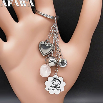 2021 Abuela te Quiero Crystal Stainless Steel Keychains for Women Tassel Black Enamel Keychain Jewelry Gift llaveros K77772B image