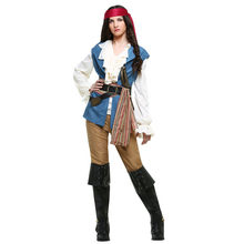 Caribbean Pirate Jack Sparrow Women Cosplay Costume girls Fancy Dress Halloween Carnival Costumes Tops Pants Vest Belt headwear(China)