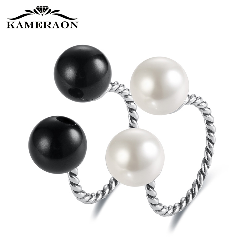Freshwater Pearls Stylish Women's Rings Adjustable 925 Sterling Silver Female Ring Vintage Black White Fine Punk Screw Jewelry