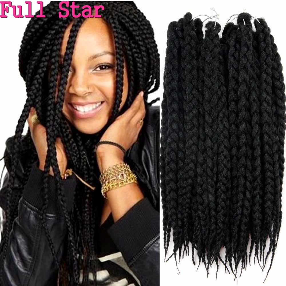 5 pack Crochet Box Braids Hair Extensions 12 Strands 12'' 80g Full Star Pretwist Black Brown Bug color Synthetic Hair for Women