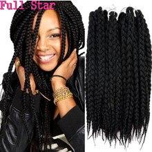 Full Star 1 9 แพ็คกล่องถักBraids Hair Extensions 12 Strands 80g Pretwistสีดำสีน้ำตาลBUGสีผมสังเคราะห์สำหรับผู้หญิง